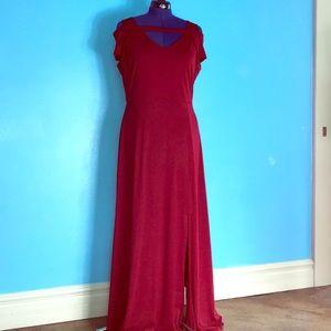 XL red open shoulder maxi dress